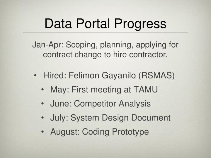 Data portal progress