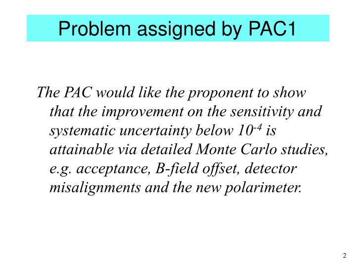 Problem assigned by PAC1
