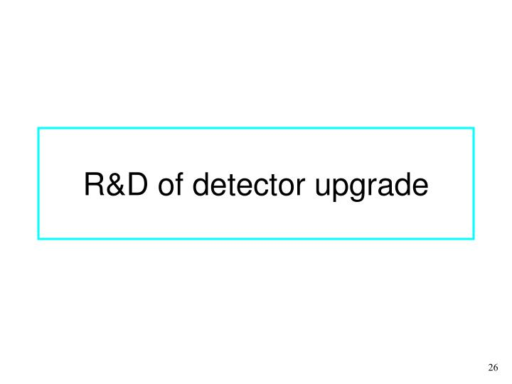 R&D of detector upgrade