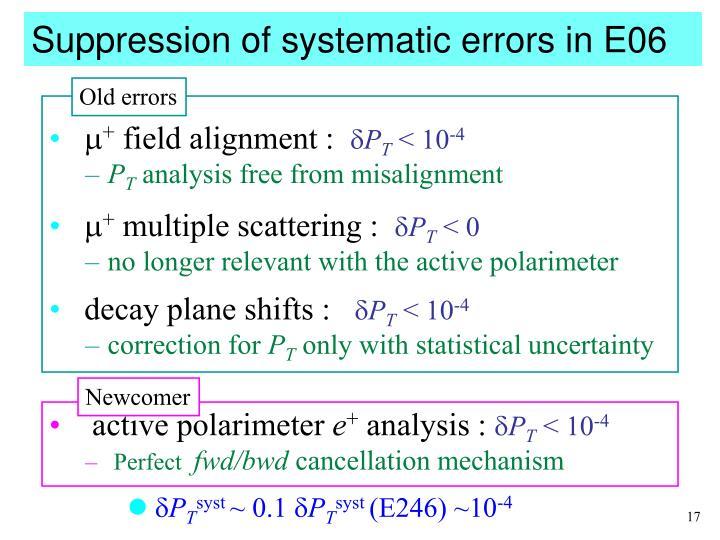 Suppression of systematic errors in E06