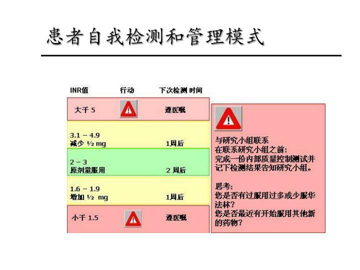患者自我检测和管理模式