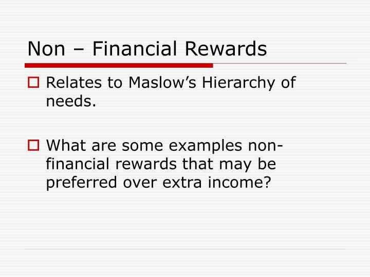 Non – Financial Rewards
