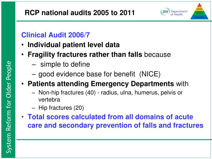 RCP national audits 2005 to 2011