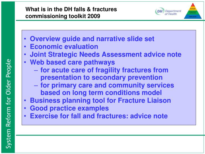 What is in the DH falls & fractures commissioning toolkit 2009