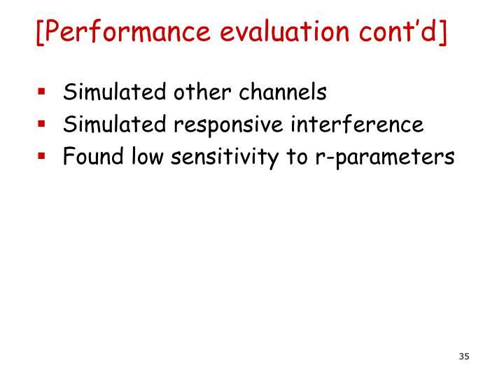 [Performance evaluation cont'd]