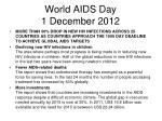 world aids day 1 december 2012
