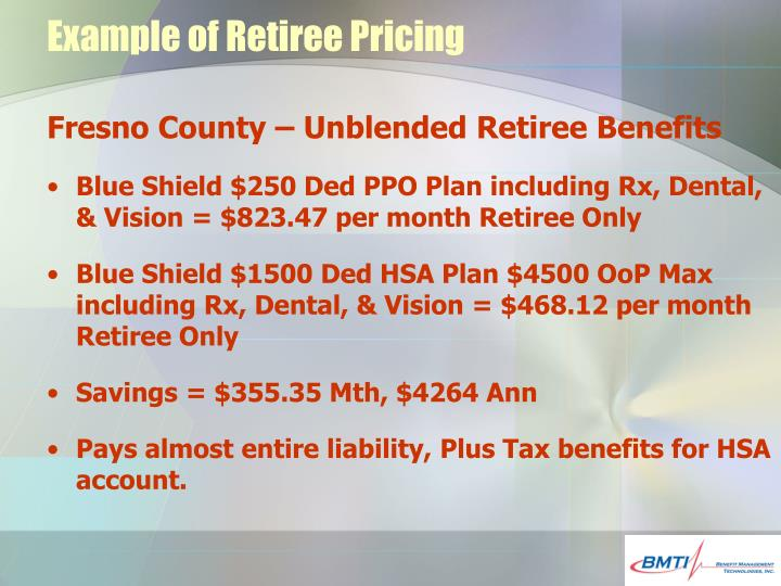 Example of Retiree Pricing