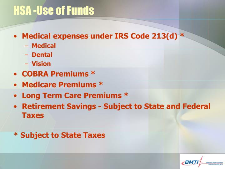 HSA -Use of Funds