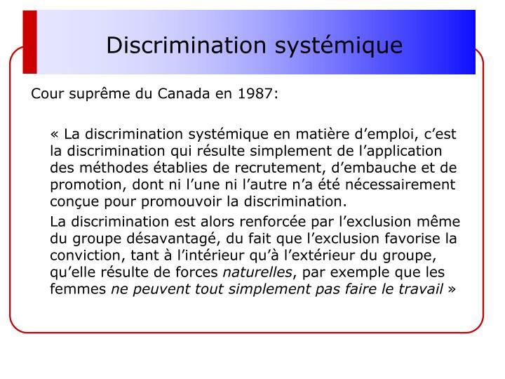 Discrimination systémique