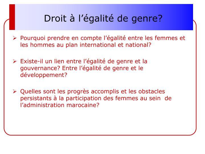 Droit à l'égalité de genre?