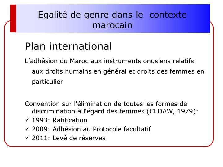Egalité de genre dans le  contexte marocain
