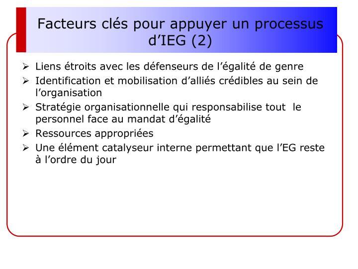 Facteurs clés pour appuyer un processus d'IEG (2)