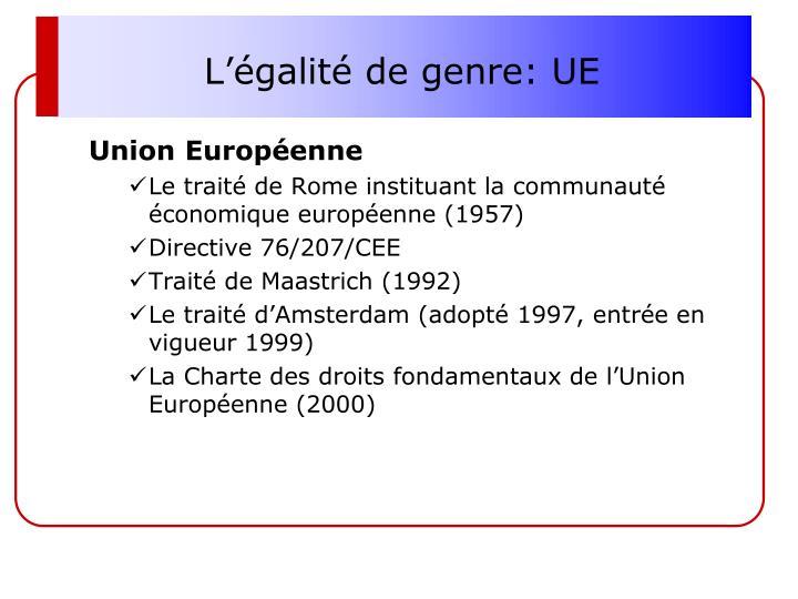 L'égalité de genre: UE