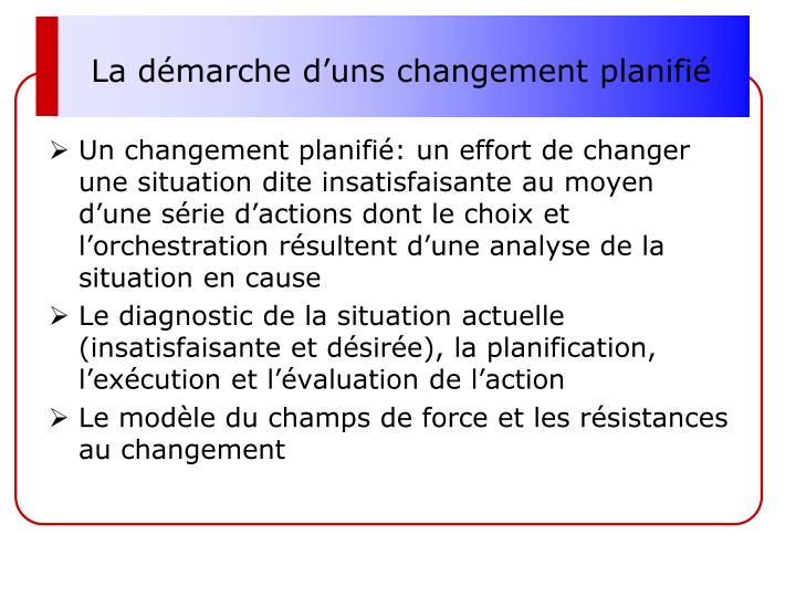 La démarche d'uns changement planifié