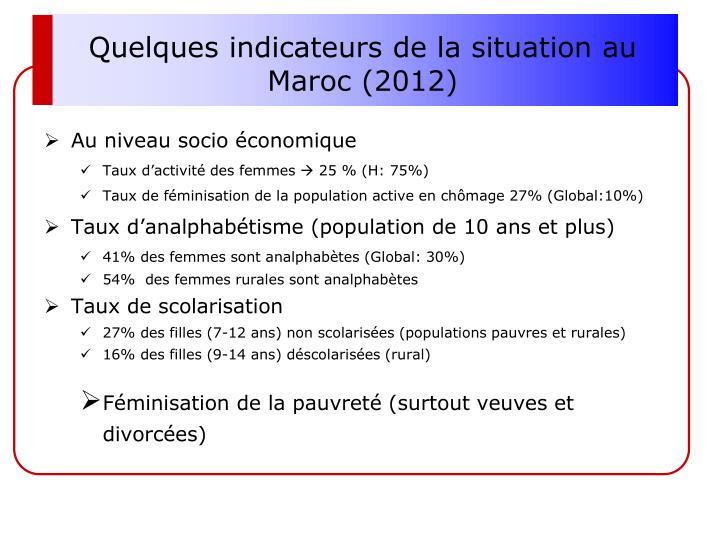 Quelques indicateurs de la situation au Maroc (2012)