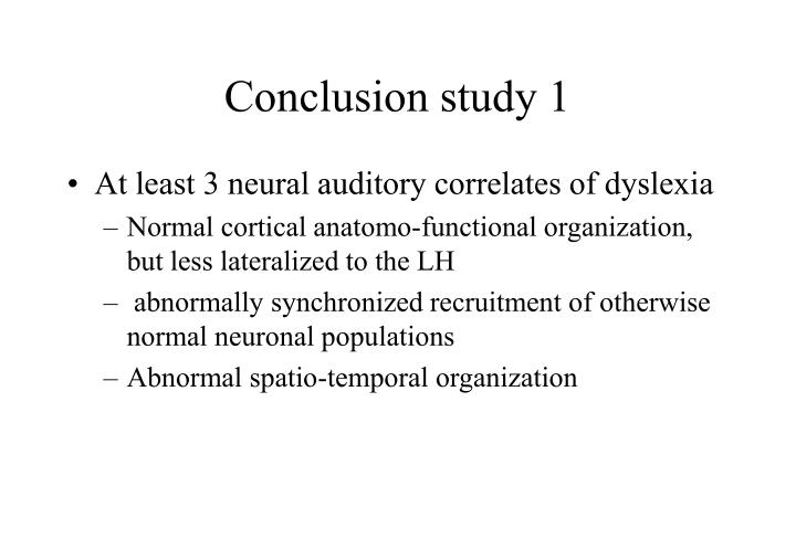Conclusion study 1