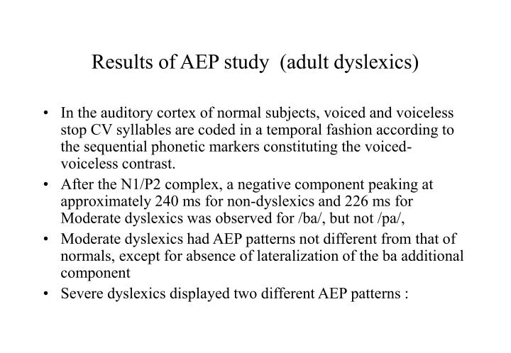 Results of AEP study  (adult dyslexics)