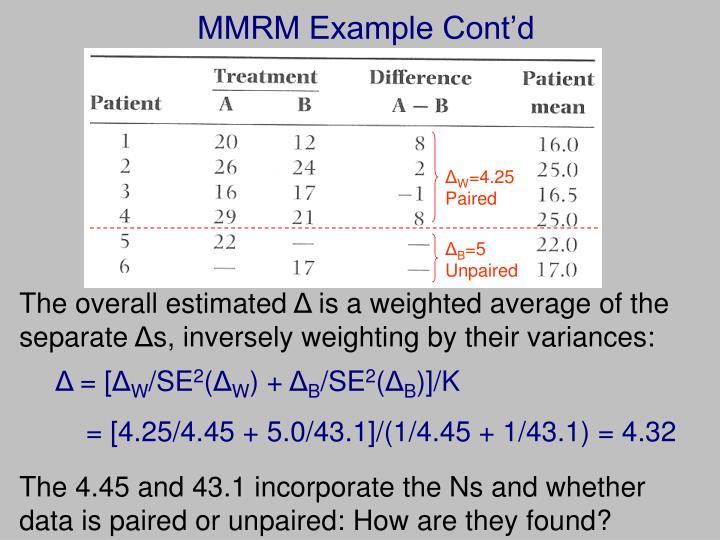 MMRM Example Cont'd