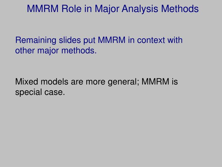 MMRM Role in Major Analysis Methods