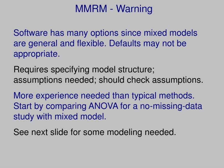 MMRM - Warning