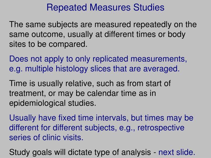 Repeated Measures Studies