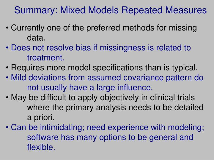 Summary: Mixed Models Repeated Measures