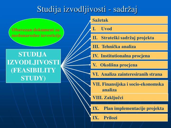 Studija izvodljivosti - sadržaj