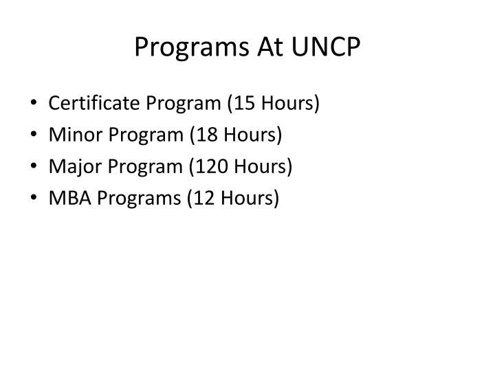 Programs At UNCP