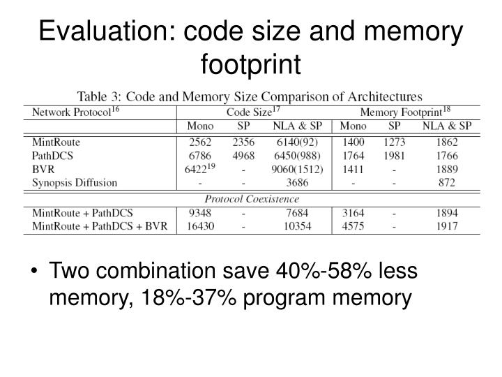 Evaluation: code size and memory footprint