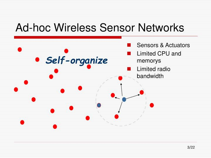 Ad hoc wireless sensor networks