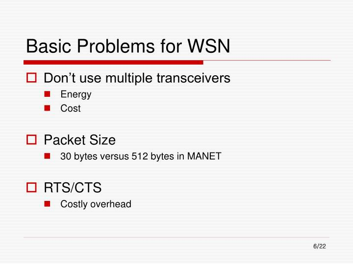 Basic Problems for WSN