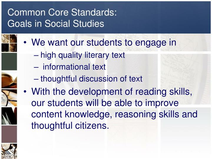 Common core standards goals in social studies