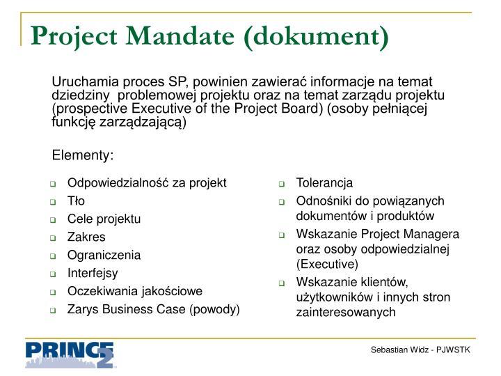 Odpowiedzialność za projekt