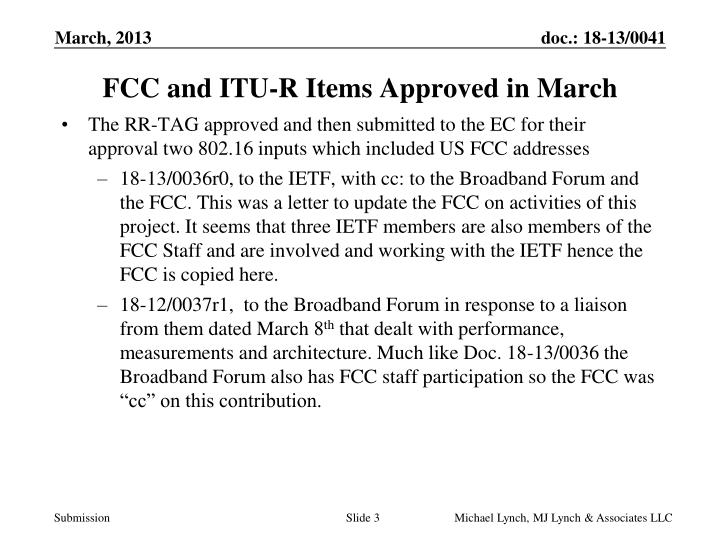 FCC and ITU-R Items Approved