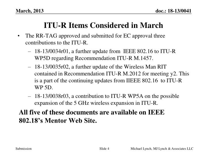 ITU-R Items