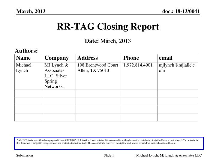 Rr tag closing report