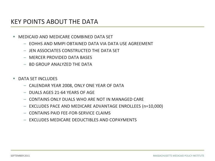 Key points about the data