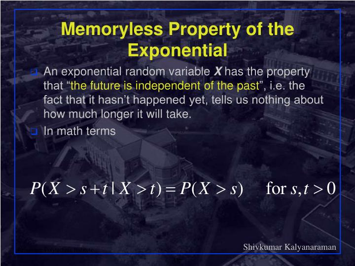 Memoryless Property of the Exponential