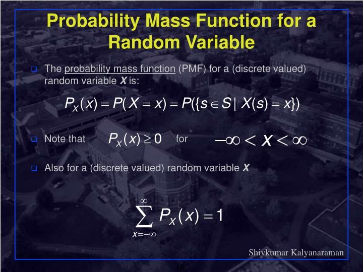 Probability Mass Function for a Random Variable