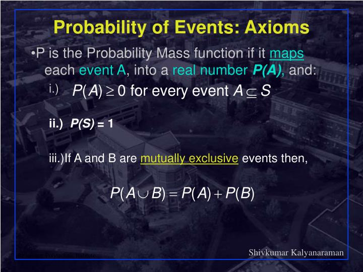 Probability of Events: Axioms