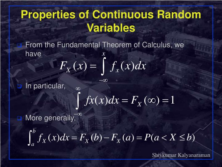 Properties of Continuous Random Variables