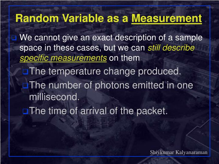 Random Variable as a