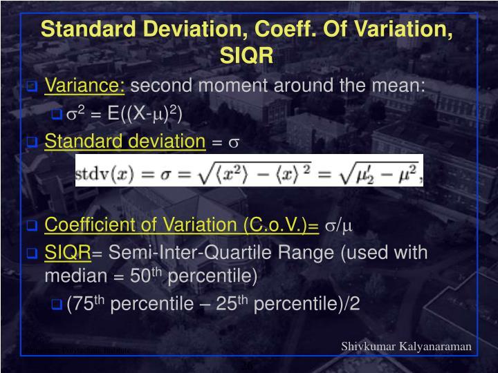 Standard Deviation, Coeff. Of Variation, SIQR