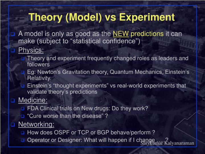 Theory model vs experiment