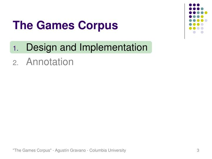 The games corpus2
