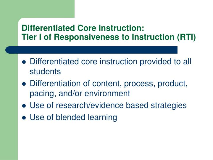 Differentiated Core Instruction:
