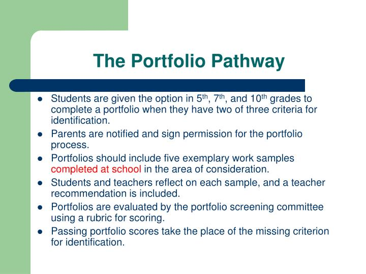 The Portfolio Pathway