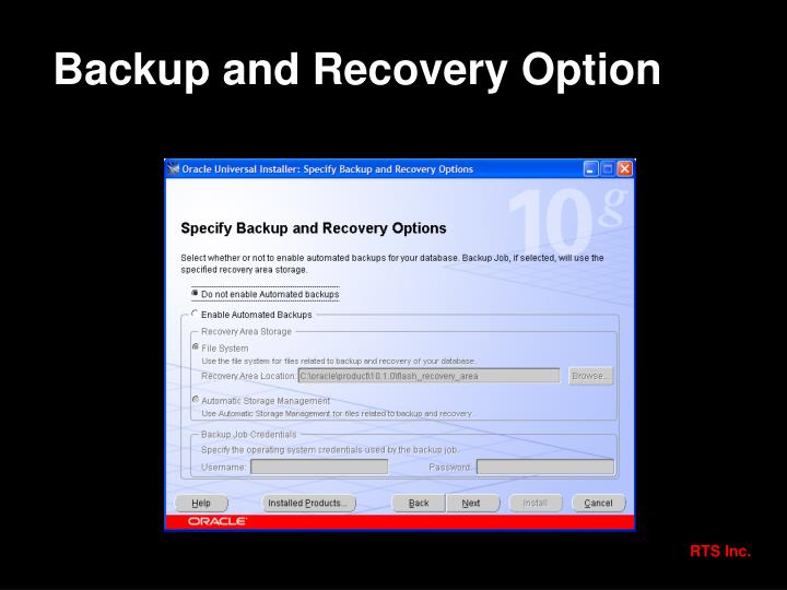 Backup and Recovery Option