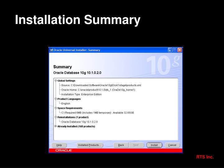 Installation Summary