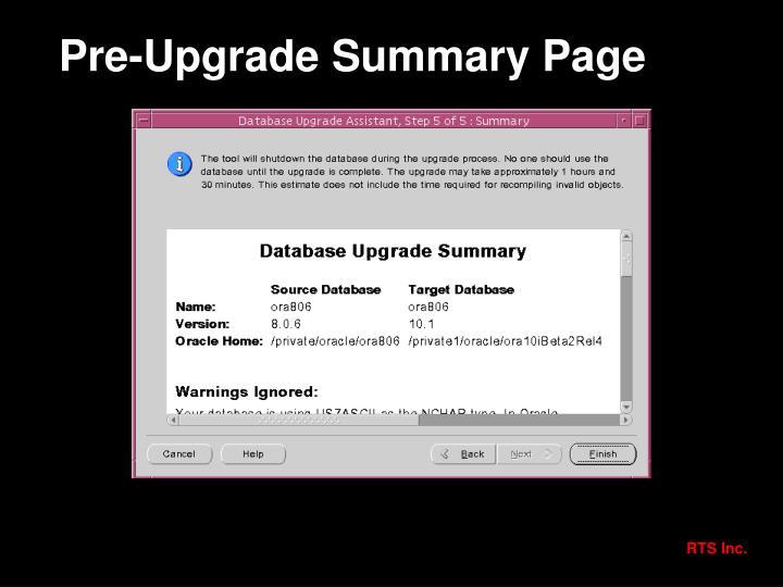 Pre-Upgrade Summary Page